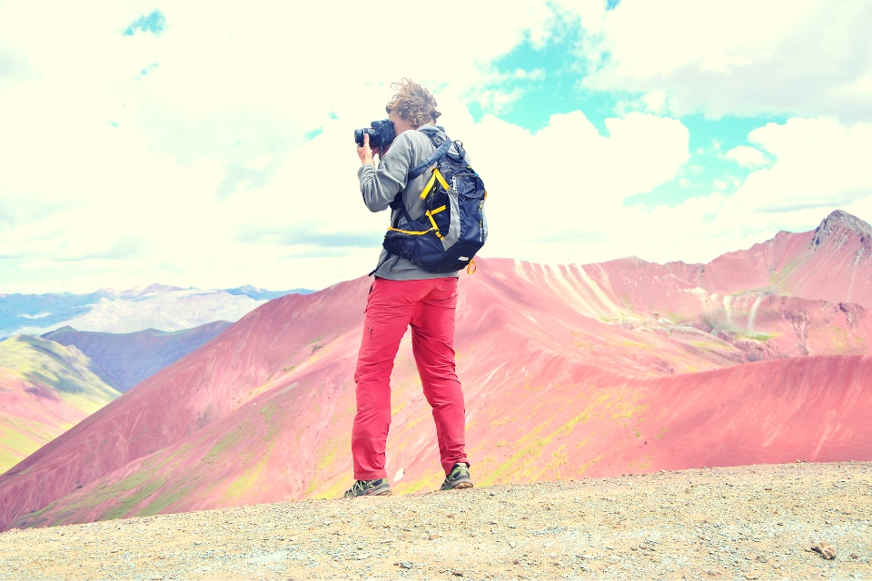 Tourist in the Rainbow Mountain